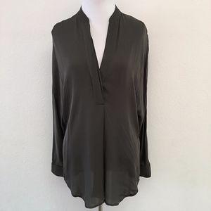 Vince Gray Silk Long Sleeve V Neck Blouse Size XS